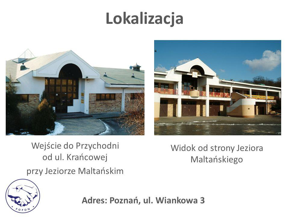 Lokalizacja Wejście do Przychodni od ul. Krańcowej przy Jeziorze Maltańskim Widok od strony Jeziora Maltańskiego Adres: Poznań, ul. Wiankowa 3