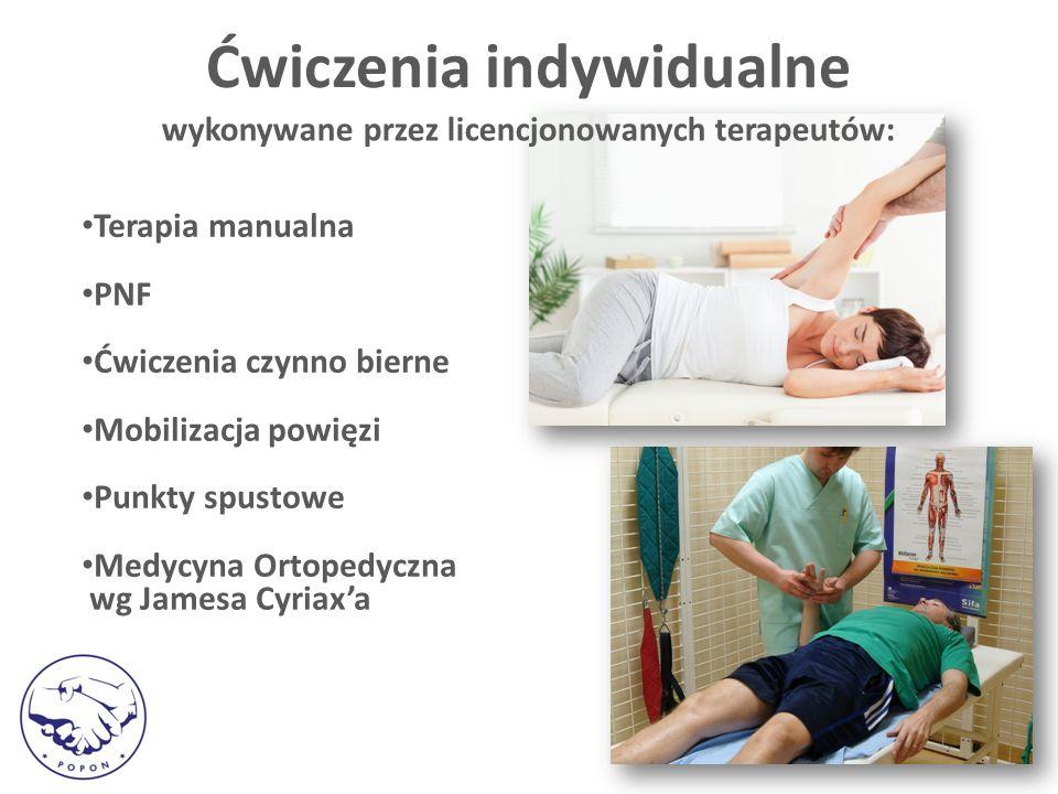 Terapia manualna PNF Ćwiczenia czynno bierne Mobilizacja powięzi Punkty spustowe Medycyna Ortopedyczna wg Jamesa Cyriax'a Ćwiczenia indywidualne wykonywane przez licencjonowanych terapeutów:
