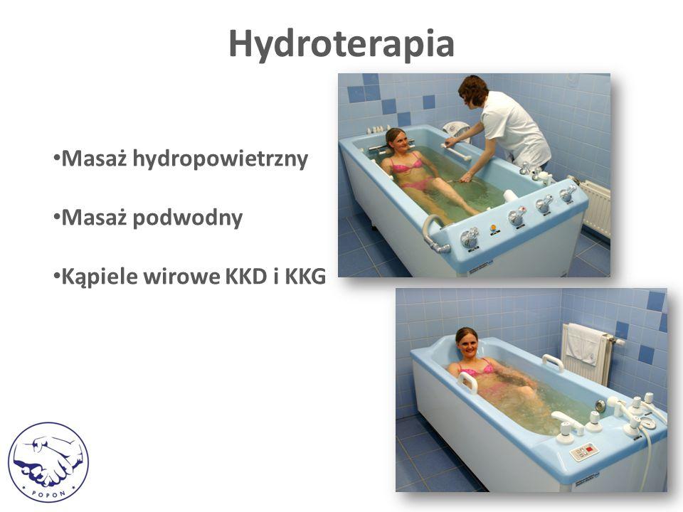 Masaż hydropowietrzny Masaż podwodny Kąpiele wirowe KKD i KKG Hydroterapia