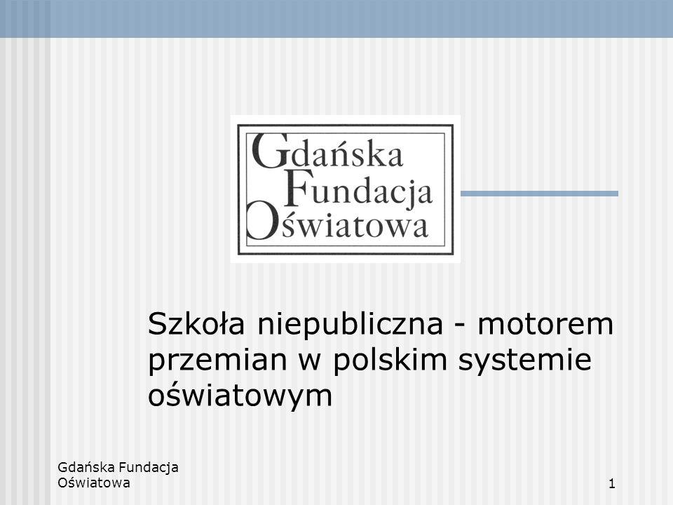 Gdańska Fundacja Oświatowa12 Zagrożenia Brak stabilizacji prawnej Ingerowanie państwa w sferę pracy wychowawczej szkoły Niski poziom zamożności społeczeństwa Demografia
