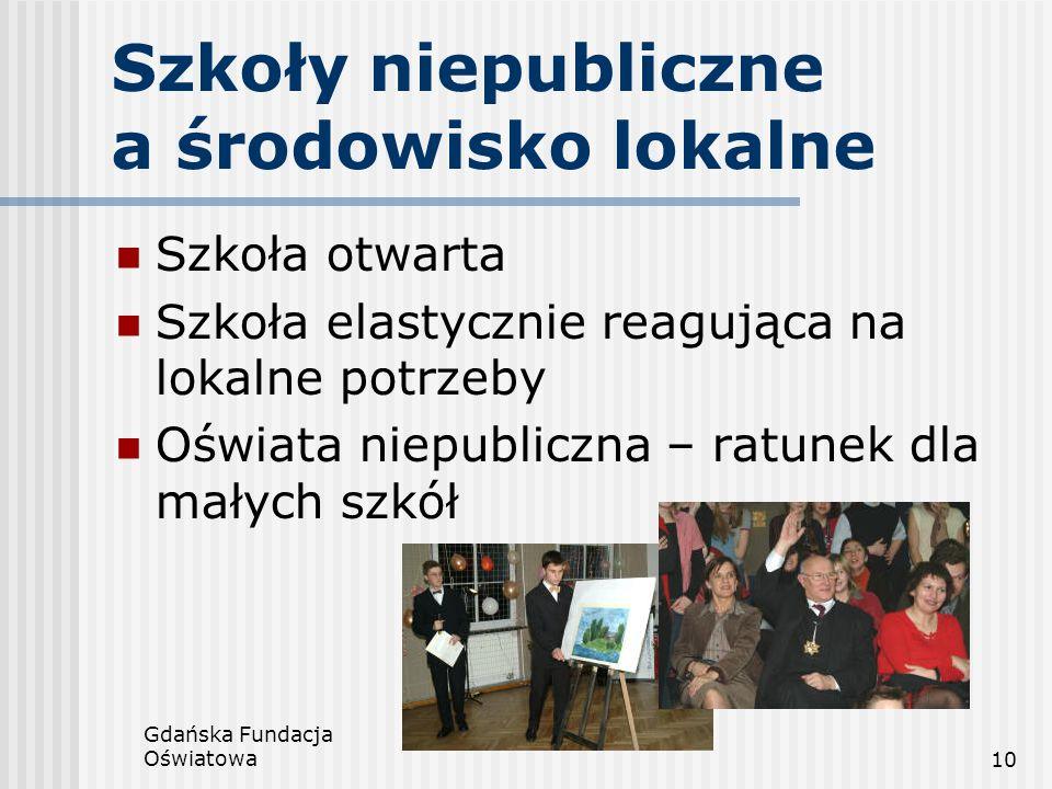 Gdańska Fundacja Oświatowa10 Szkoły niepubliczne a środowisko lokalne Szkoła otwarta Szkoła elastycznie reagująca na lokalne potrzeby Oświata niepubli