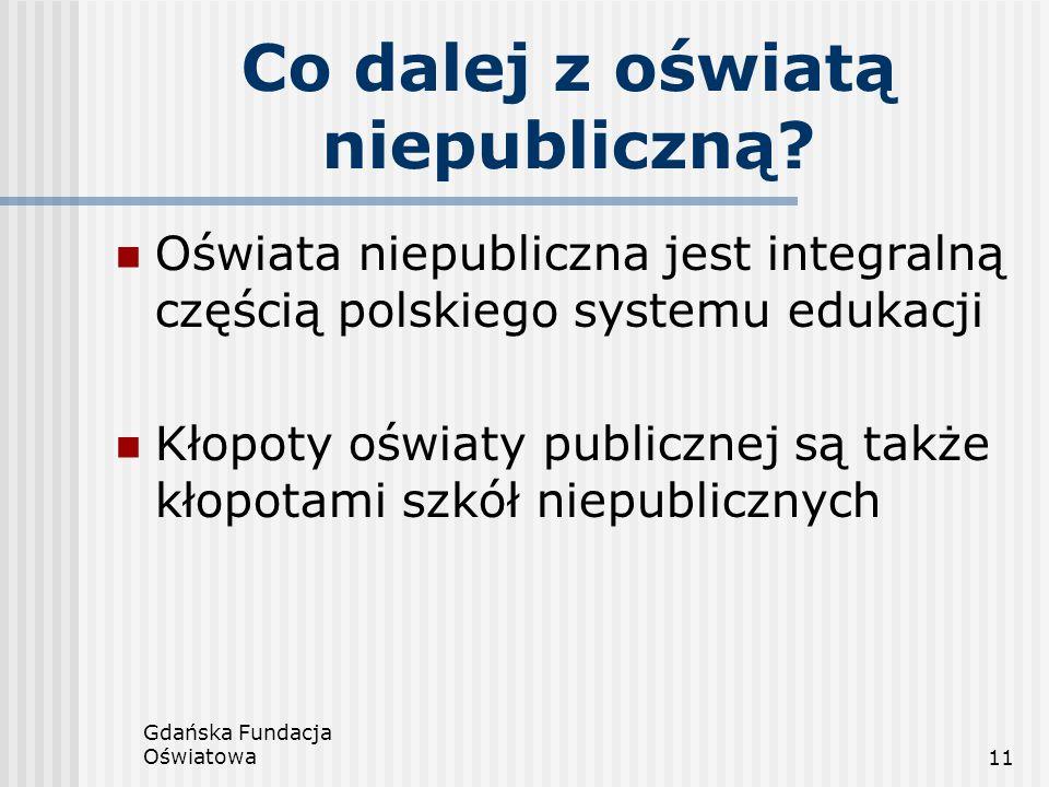 Gdańska Fundacja Oświatowa11 Co dalej z oświatą niepubliczną? Oświata niepubliczna jest integralną częścią polskiego systemu edukacji Kłopoty oświaty