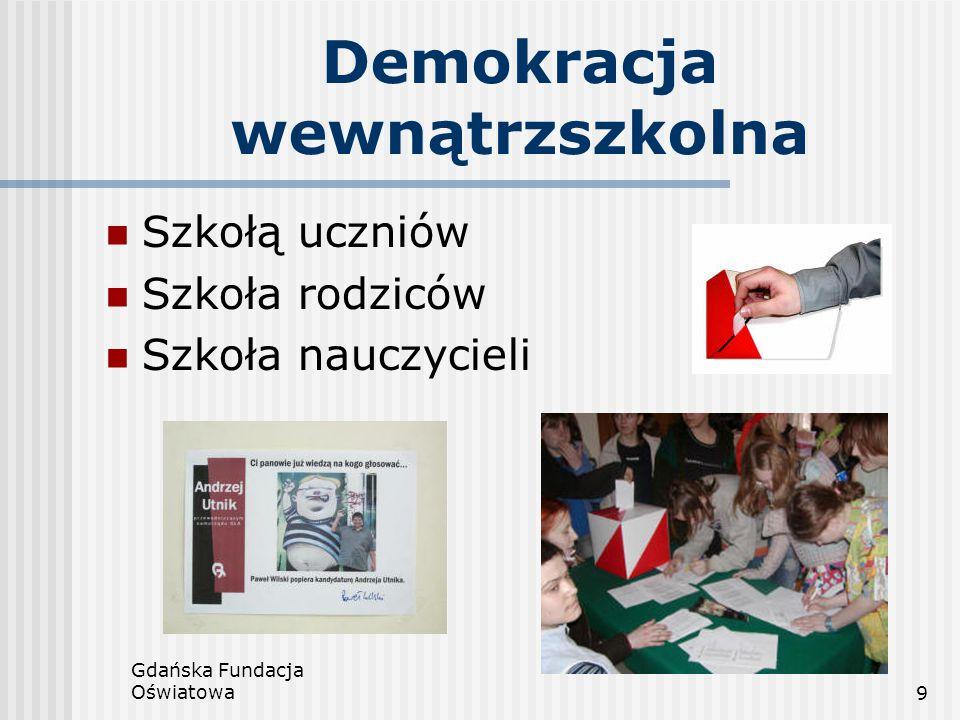 Gdańska Fundacja Oświatowa10 Szkoły niepubliczne a środowisko lokalne Szkoła otwarta Szkoła elastycznie reagująca na lokalne potrzeby Oświata niepubliczna – ratunek dla małych szkół