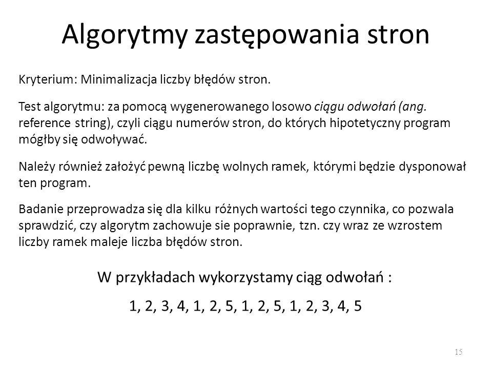 Algorytmy zastępowania stron 15 Kryterium: Minimalizacja liczby błędów stron. Test algorytmu: za pomocą wygenerowanego losowo ciągu odwołań (ang. refe