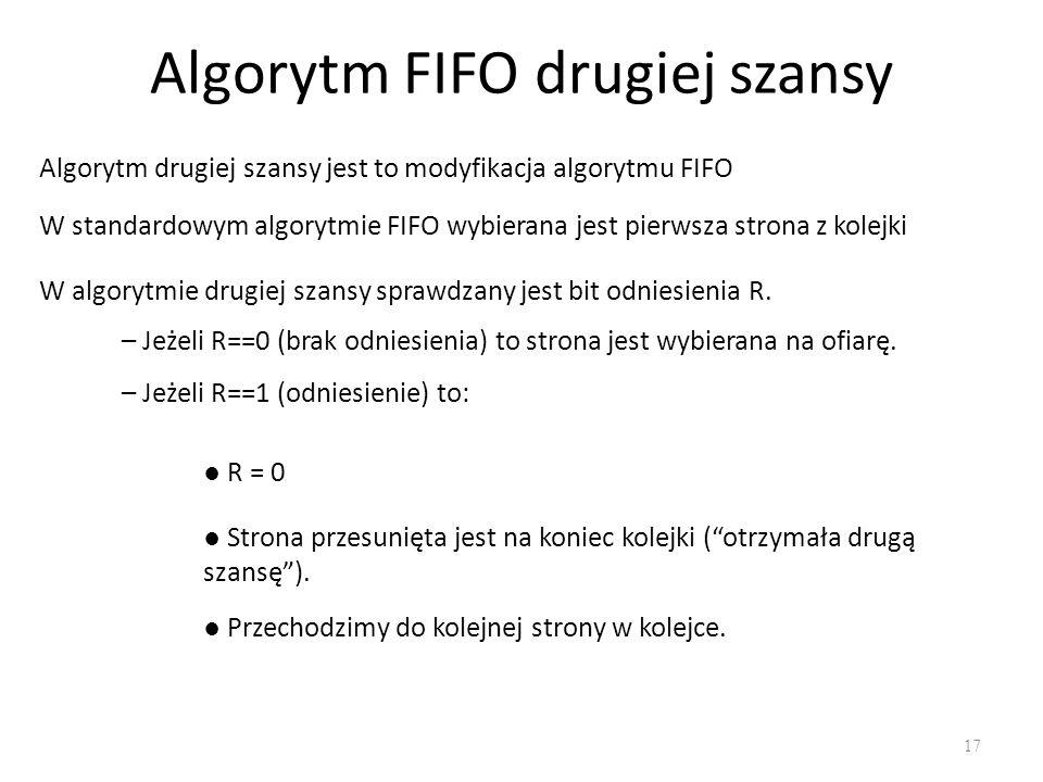Algorytm FIFO drugiej szansy 17 Algorytm drugiej szansy jest to modyfikacja algorytmu FIFO W standardowym algorytmie FIFO wybierana jest pierwsza stro