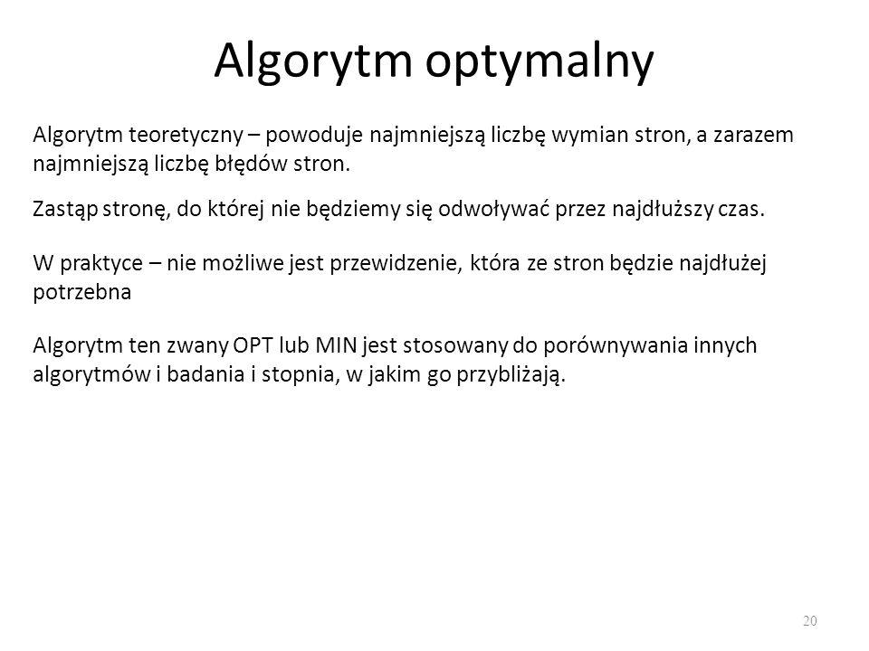 Algorytm optymalny 20 Zastąp stronę, do której nie będziemy się odwoływać przez najdłuższy czas. Algorytm teoretyczny – powoduje najmniejszą liczbę wy