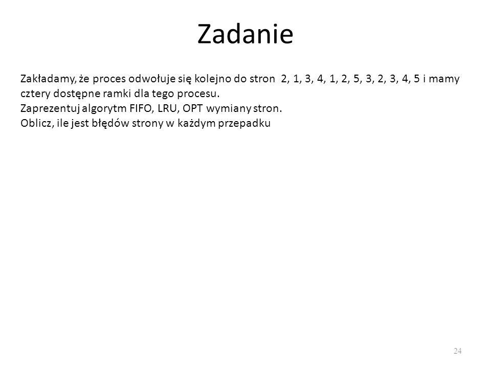 Zadanie 24 Zakładamy, że proces odwołuje się kolejno do stron 2, 1, 3, 4, 1, 2, 5, 3, 2, 3, 4, 5 i mamy cztery dostępne ramki dla tego procesu. Zaprez