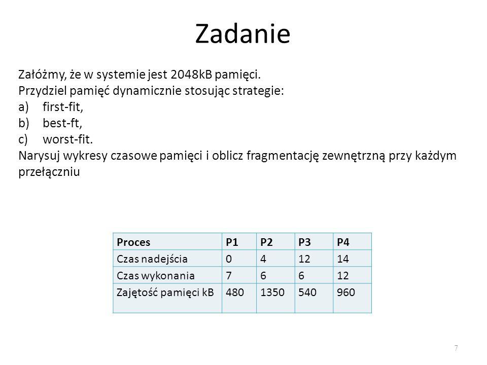 7 Zadanie ProcesP1P2P3P4 Czas nadejścia041214 Czas wykonania76612 Zajętość pamięci kB4801350540960 Załóżmy, że w systemie jest 2048kB pamięci. Przydzi