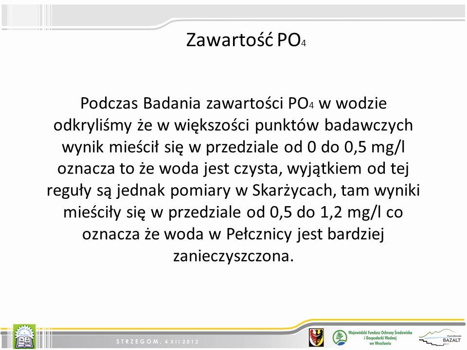 Podczas Badania zawartości PO 4 w wodzie odkryliśmy że w większości punktów badawczych wynik mieścił się w przedziale od 0 do 0,5 mg/l oznacza to że woda jest czysta, wyjątkiem od tej reguły są jednak pomiary w Skarżycach, tam wyniki mieściły się w przedziale od 0,5 do 1,2 mg/l co oznacza że woda w Pełcznicy jest bardziej zanieczyszczona.