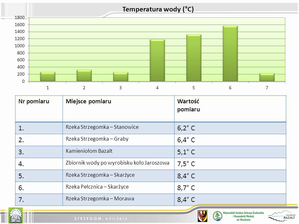 Nr pomiaruMiejsce pomiaruWartość pomiaru 1.Rzeka Strzegomka – Stanowice 6,2° C 2.