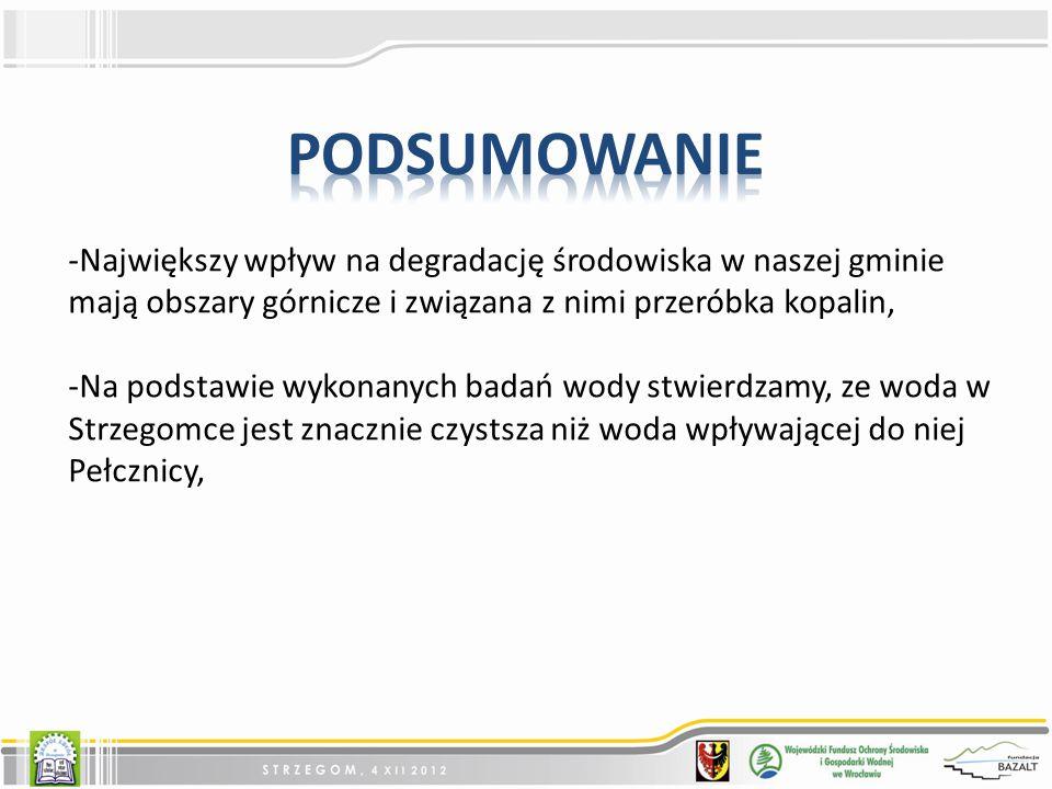 -Największy wpływ na degradację środowiska w naszej gminie mają obszary górnicze i związana z nimi przeróbka kopalin, -Na podstawie wykonanych badań wody stwierdzamy, ze woda w Strzegomce jest znacznie czystsza niż woda wpływającej do niej Pełcznicy,