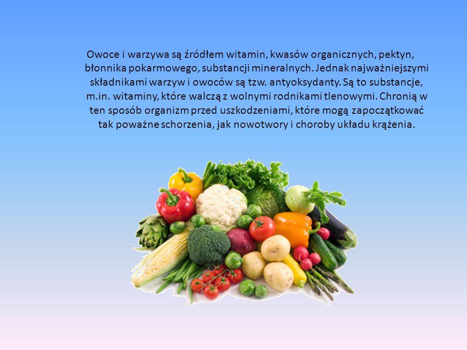 Owoce i warzywa są źródłem witamin, kwasów organicznych, pektyn, błonnika pokarmowego, substancji mineralnych. Jednak najważniejszymi składnikami warz