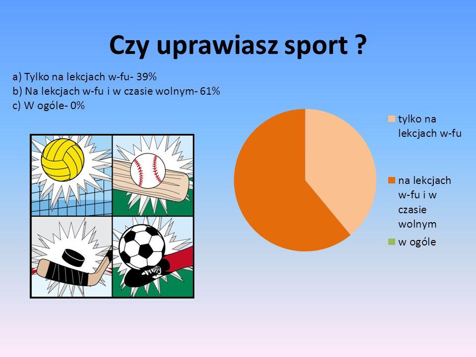 Czy uprawiasz sport ? a) Tylko na lekcjach w-fu- 39% b) Na lekcjach w-fu i w czasie wolnym- 61% c) W ogóle- 0%