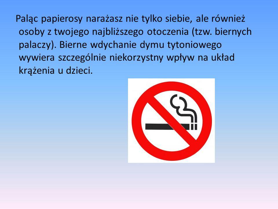 Paląc papierosy narażasz nie tylko siebie, ale również osoby z twojego najbliższego otoczenia (tzw. biernych palaczy). Bierne wdychanie dymu tytoniowe