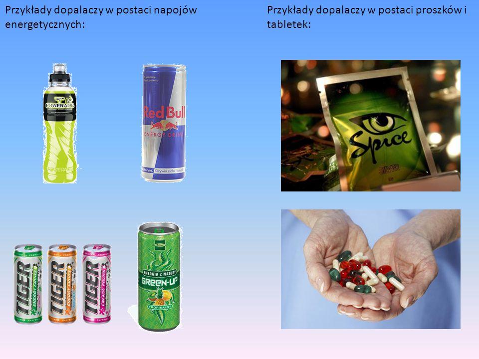Przykłady dopalaczy w postaci napojów energetycznych: Przykłady dopalaczy w postaci proszków i tabletek:
