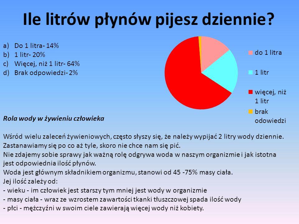 Ile litrów płynów pijesz dziennie? a)Do 1 litra- 14% b)1 litr- 20% c)Więcej, niż 1 litr- 64% d)Brak odpowiedzi- 2% Rola wody w żywieniu człowieka Wśró