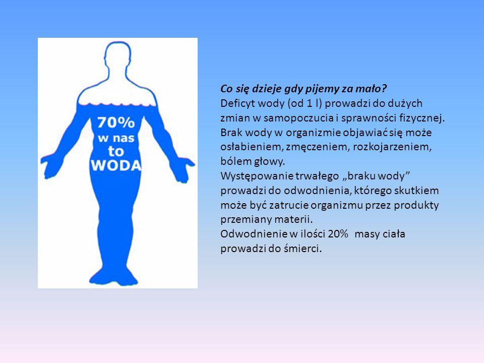 Co się dzieje gdy pijemy za mało? Deficyt wody (od 1 l) prowadzi do dużych zmian w samopoczucia i sprawności fizycznej. Brak wody w organizmie objawia