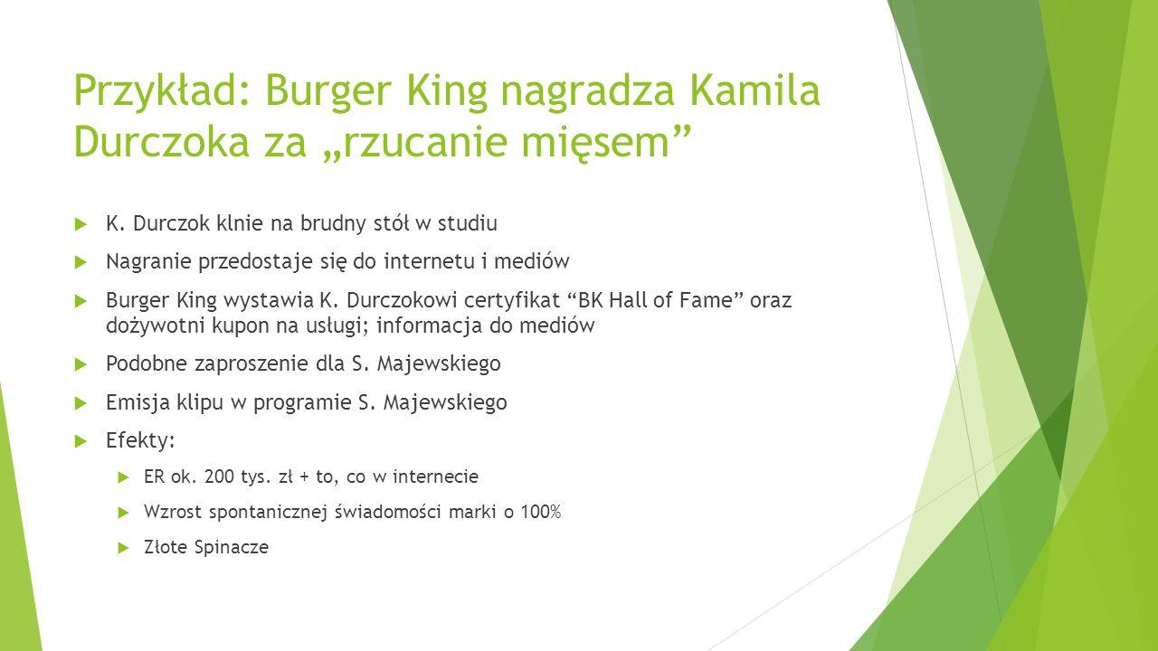 """Przykład: Burger King nagradza Kamila Durczoka za """"rzucanie mięsem""""  K. Durczok klnie na brudny stół w studiu  Nagranie przedostaje się do internetu"""