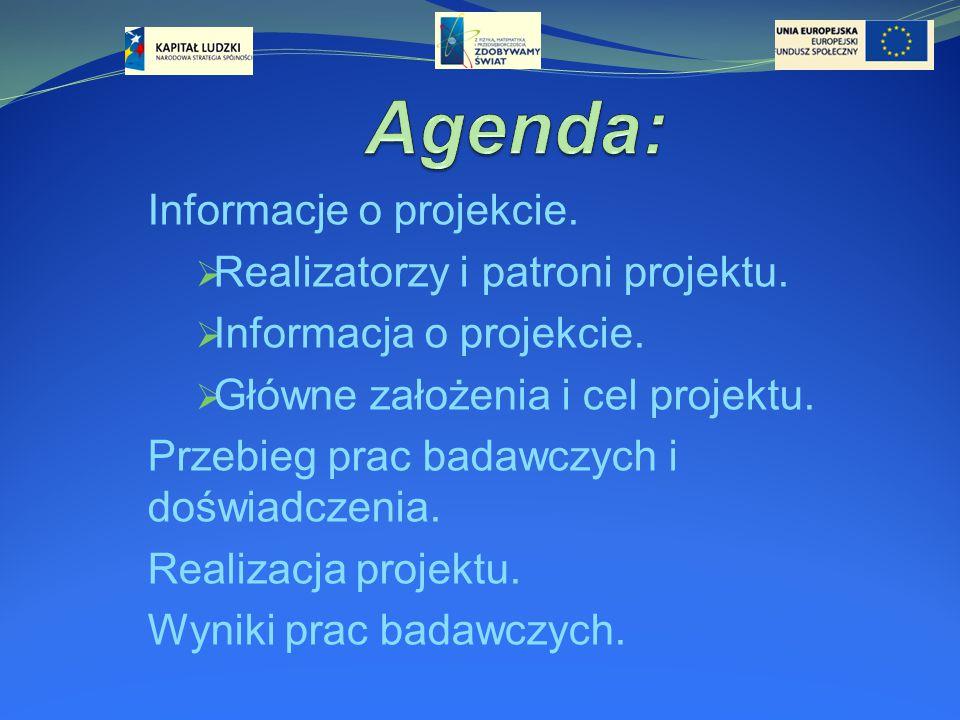 Informacje o projekcie.  Realizatorzy i patroni projektu.