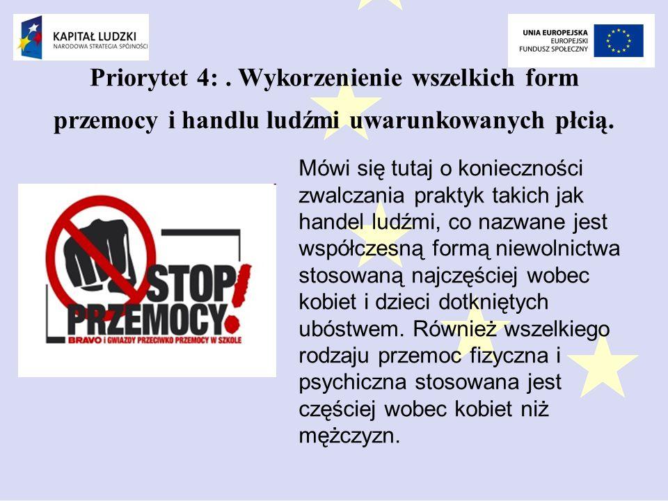 Priorytet 4:.Wykorzenienie wszelkich form przemocy i handlu ludźmi uwarunkowanych płcią.