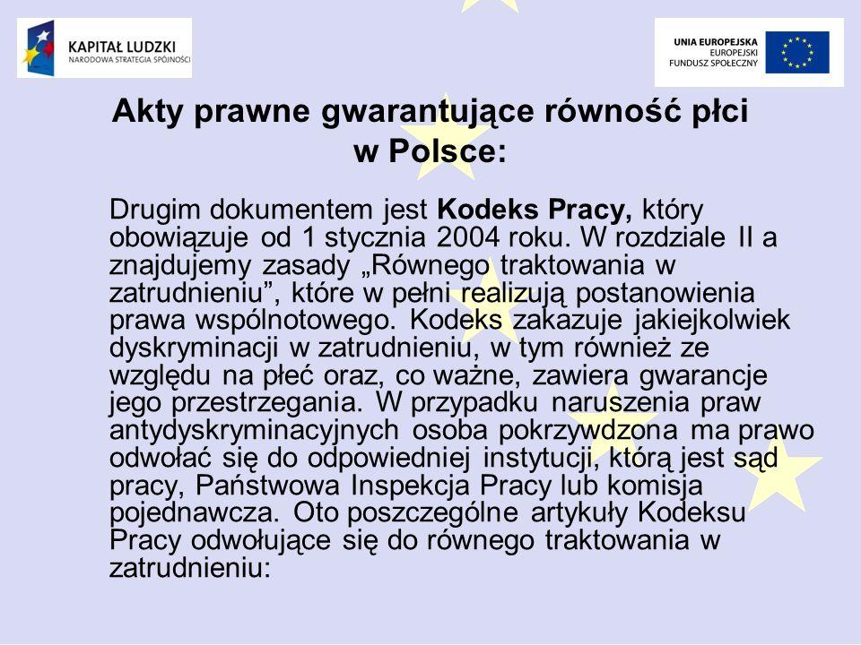 Akty prawne gwarantujące równość płci w Polsce: Drugim dokumentem jest Kodeks Pracy, który obowiązuje od 1 stycznia 2004 roku.