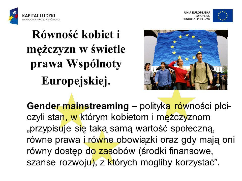 Równość kobiet i mężczyzn w świetle prawa Wspólnoty Europejskiej.