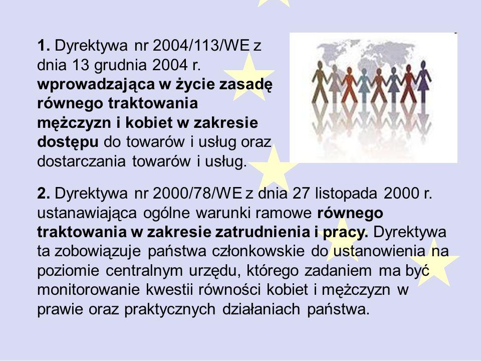 1.Dyrektywa nr 2004/113/WE z dnia 13 grudnia 2004 r.