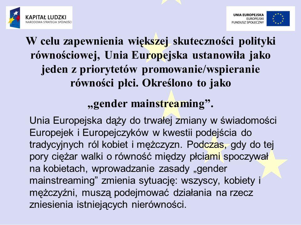 W celu zapewnienia większej skuteczności polityki równościowej, Unia Europejska ustanowiła jako jeden z priorytetów promowanie/wspieranie równości płci.