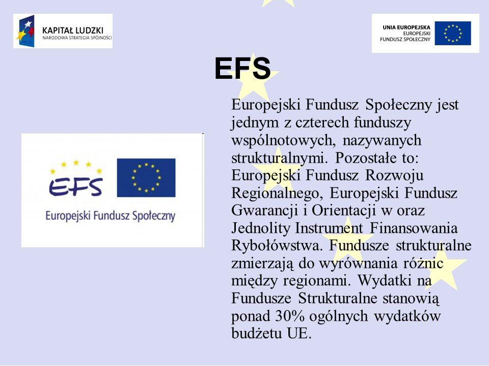 EFS Europejski Fundusz Społeczny jest jednym z czterech funduszy wspólnotowych, nazywanych strukturalnymi.