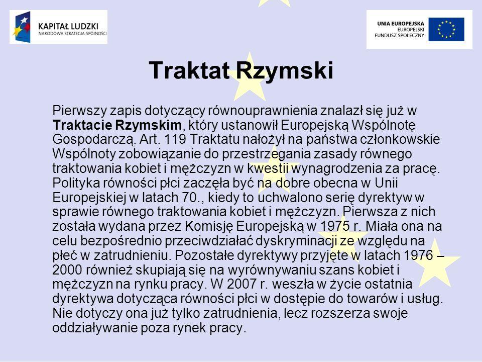 Traktat Rzymski Pierwszy zapis dotyczący równouprawnienia znalazł się już w Traktacie Rzymskim, który ustanowił Europejską Wspólnotę Gospodarczą.