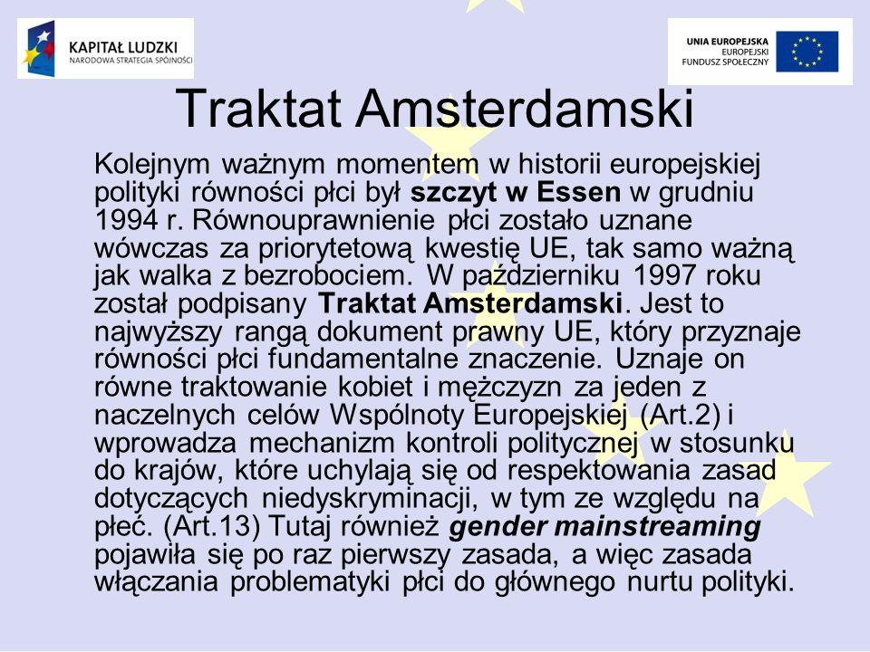Traktat Amsterdamski Kolejnym ważnym momentem w historii europejskiej polityki równości płci był szczyt w Essen w grudniu 1994 r.
