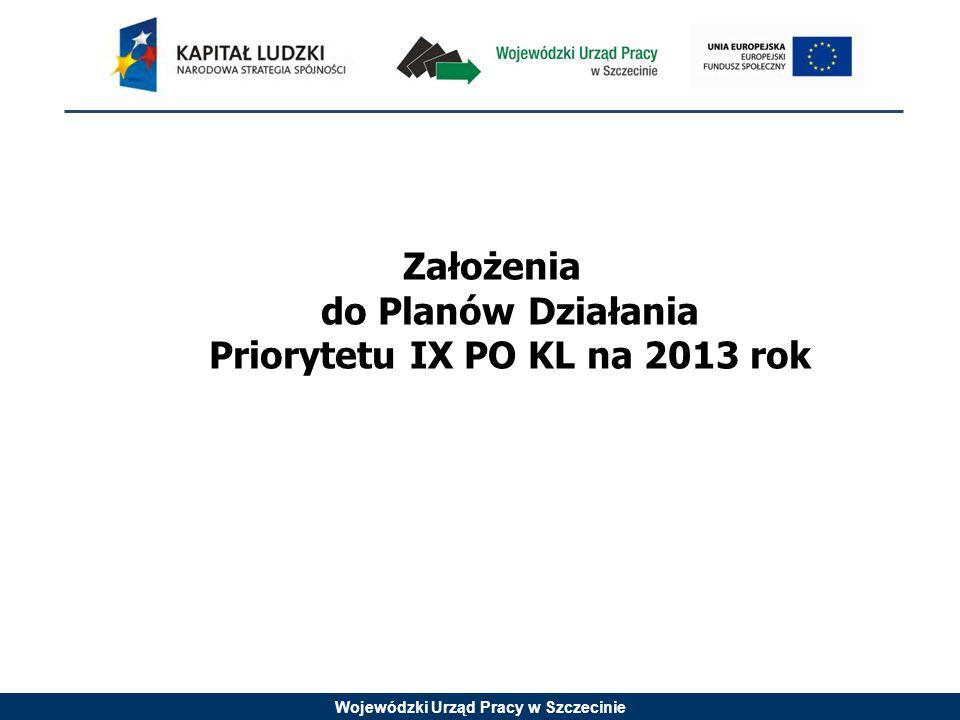 Wojewódzki Urząd Pracy w Szczecinie Założenia do Planów Działania Priorytetu IX PO KL na 2013 rok