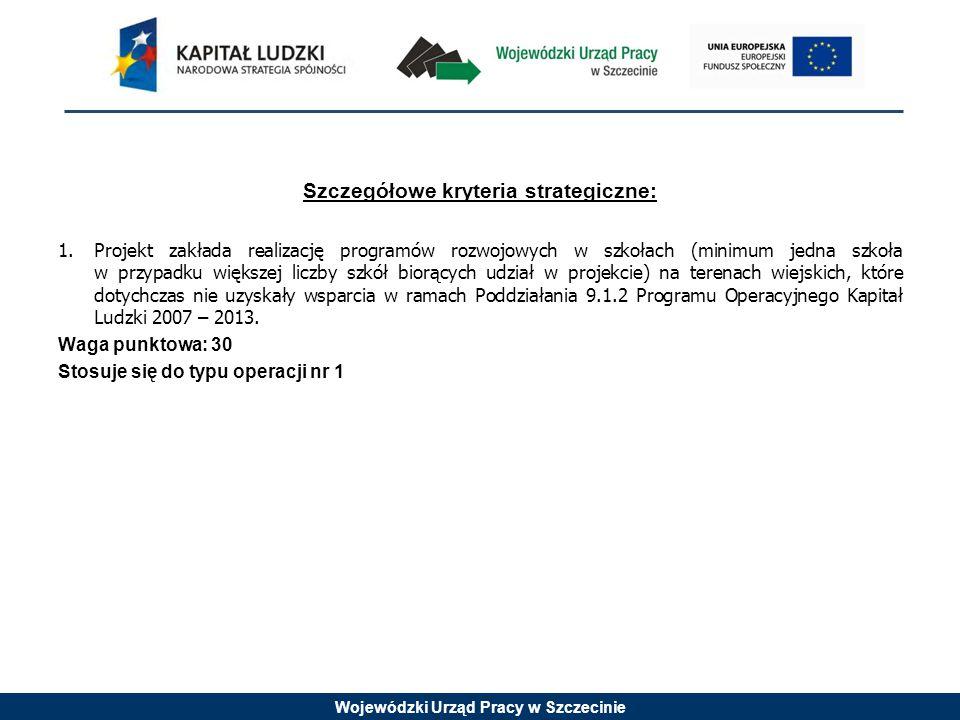 Wojewódzki Urząd Pracy w Szczecinie Szczegółowe kryteria strategiczne: 1.Projekt zakłada realizację programów rozwojowych w szkołach (minimum jedna sz