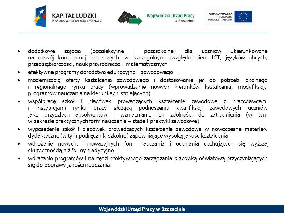 Wojewódzki Urząd Pracy w Szczecinie dodatkowe zajęcia (pozalekcyjne i pozaszkolne) dla uczniów ukierunkowane na rozwój kompetencji kluczowych, ze szcz