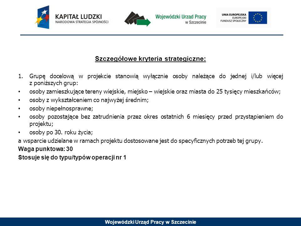 Wojewódzki Urząd Pracy w Szczecinie Szczegółowe kryteria strategiczne: 1.Grupę docelową w projekcie stanowią wyłącznie osoby należące do jednej i/lub