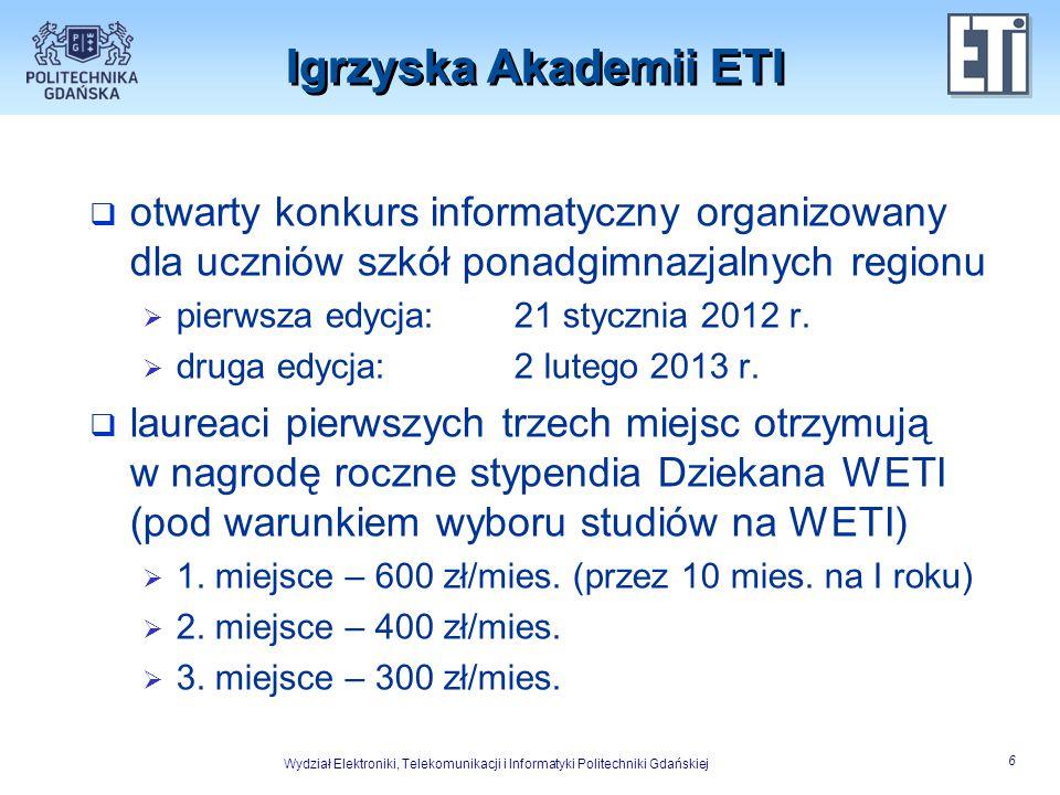 Wydział Elektroniki, Telekomunikacji i Informatyki Politechniki Gdańskiej 7 Oddziaływanie Akademii ETI  ostatnio w zajęciach Akademii ETI (wliczając Igrzyska Akademii ETI) udział bierze w sumie ponad 150 uczniów rocznie  największą frekwencją wykazują się trójmiejskie licea: I ALO w Gdyni oraz I LO, II LO, V LO i IX LO w Gdańsku (po około 20 uczniów)  w zajęciach uczestniczą również nauczyciele zwłaszcza z najdłużej współpracujących liceów Gdańska: I LO, V LO i IX LO
