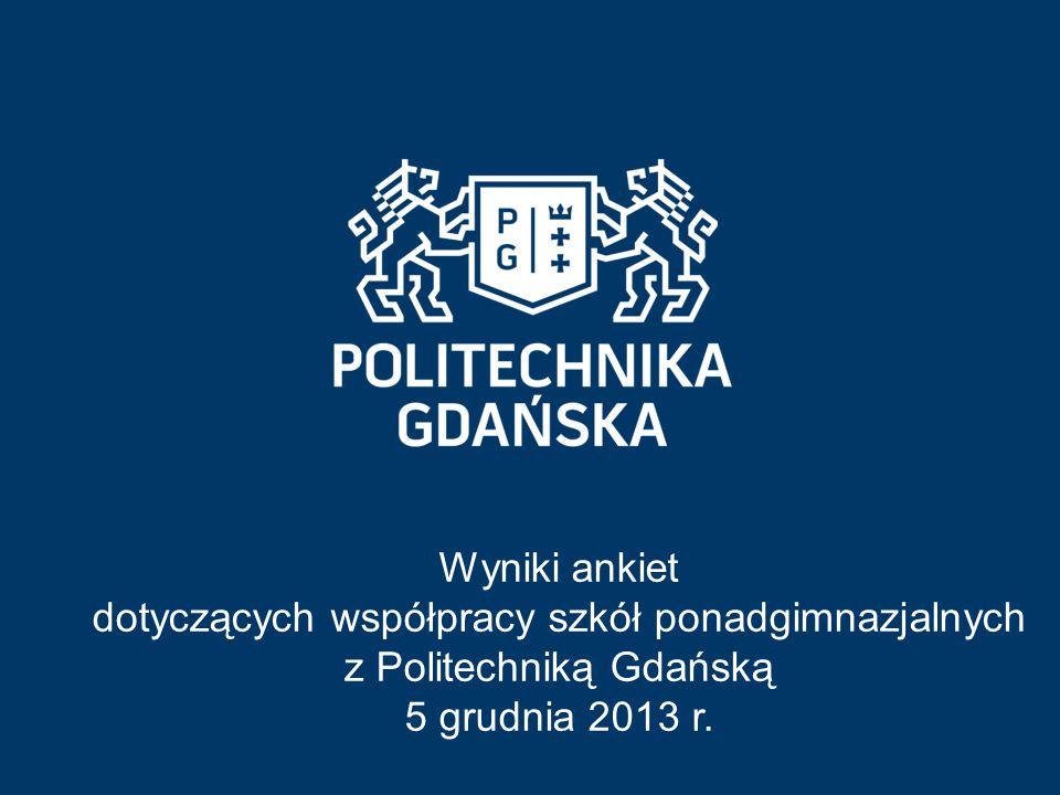 Wyniki ankiet dotyczących współpracy szkół ponadgimnazjalnych z Politechniką Gdańską 5 grudnia 2013 r.