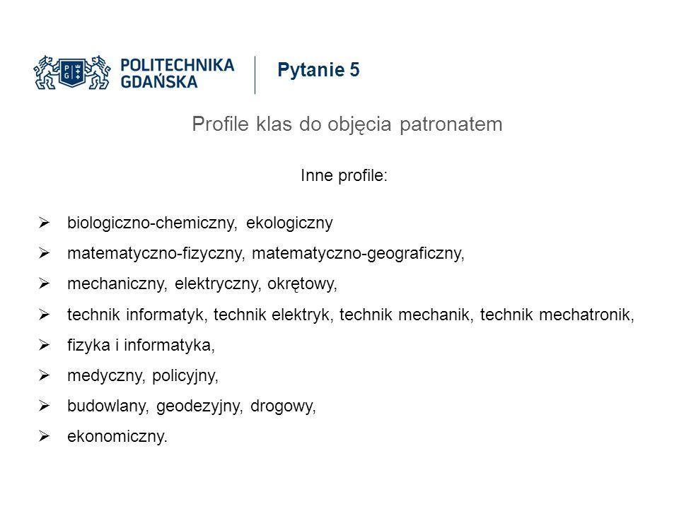 Pytanie 5 Profile klas do objęcia patronatem Inne profile:  biologiczno-chemiczny, ekologiczny  matematyczno-fizyczny, matematyczno-geograficzny, 