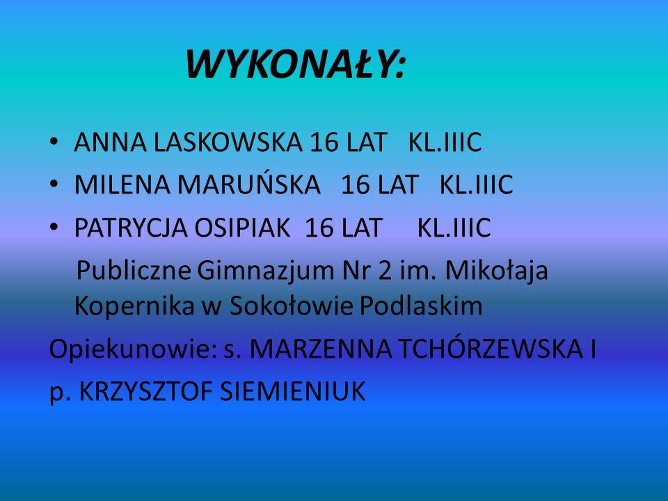 WYKONAŁY: ANNA LASKOWSKA 16 LAT KL.IIIC MILENA MARUŃSKA 16 LAT KL.IIIC PATRYCJA OSIPIAK 16 LAT KL.IIIC Publiczne Gimnazjum Nr 2 im. Mikołaja Kopernika