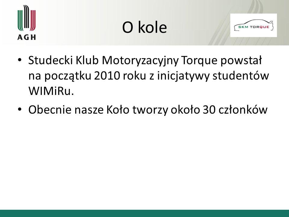 O kole Studecki Klub Motoryzacyjny Torque powstał na początku 2010 roku z inicjatywy studentów WIMiRu. Obecnie nasze Koło tworzy około 30 członków
