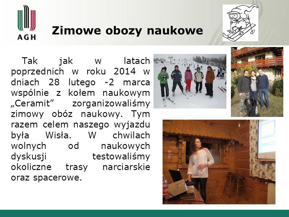 """Zimowe obozy naukowe Tak jak w latach poprzednich w roku 2014 w dniach 28 lutego -2 marca wspólnie z kołem naukowym """"Ceramit"""" zorganizowaliśmy zimowy"""