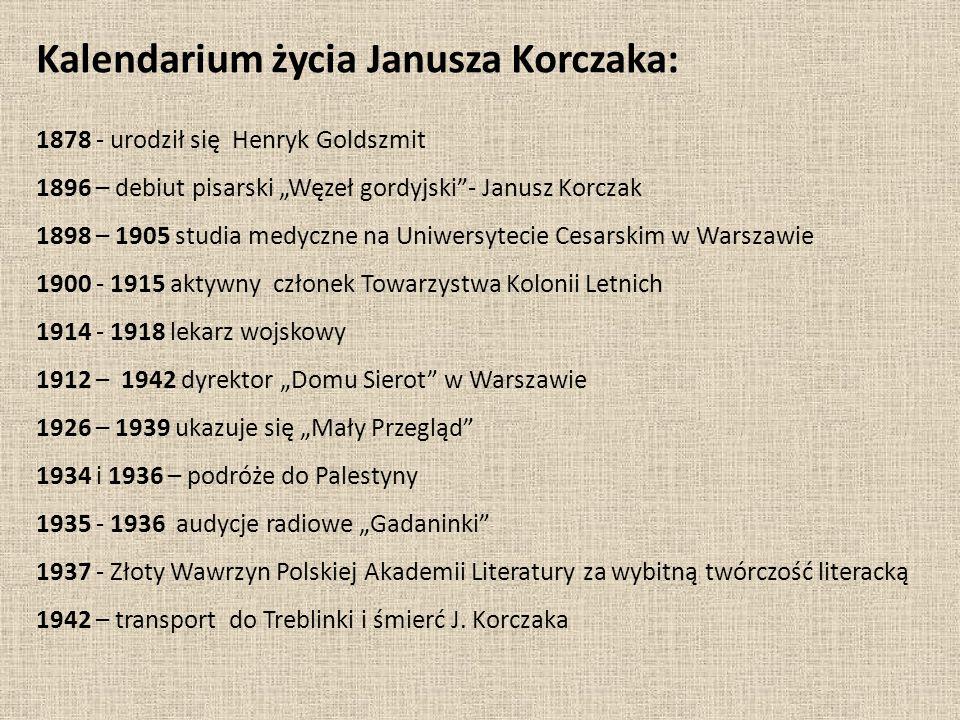 """Kalendarium życia Janusza Korczaka: 1878 - urodził się Henryk Goldszmit 1896 – debiut pisarski """"Węzeł gordyjski""""- Janusz Korczak 1898 – 1905 studia me"""