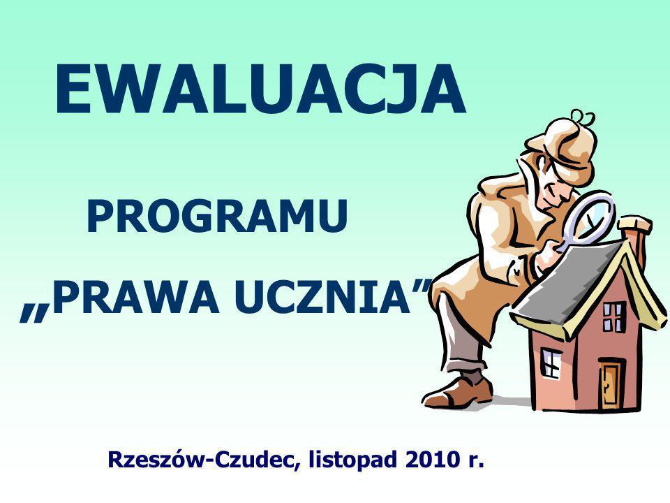 """EWALUACJA PROGRAMU """" PRAWA UCZNIA Rzeszów-Czudec, listopad 2010 r."""