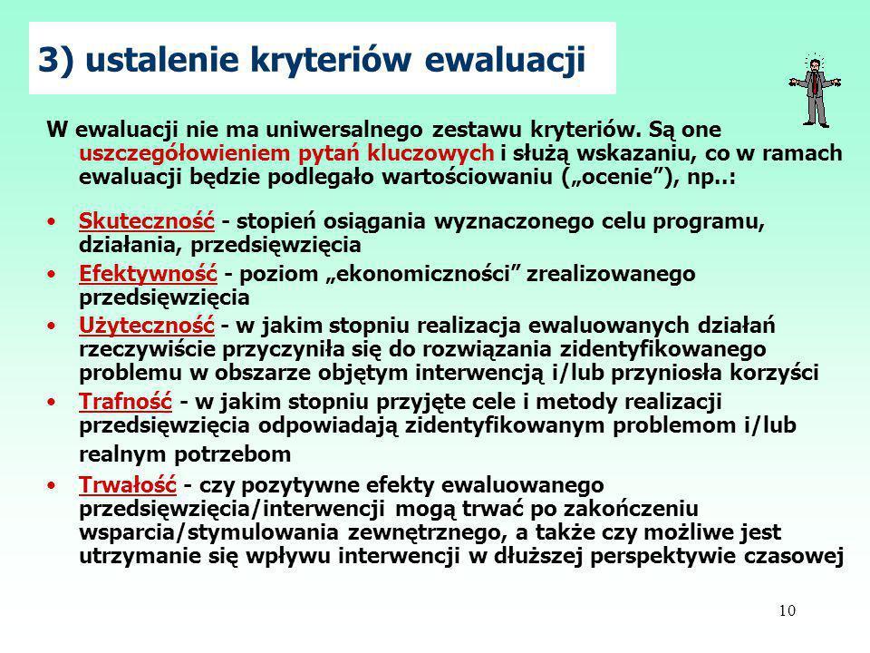 10 3) ustalenie kryteriów ewaluacji W ewaluacji nie ma uniwersalnego zestawu kryteriów.