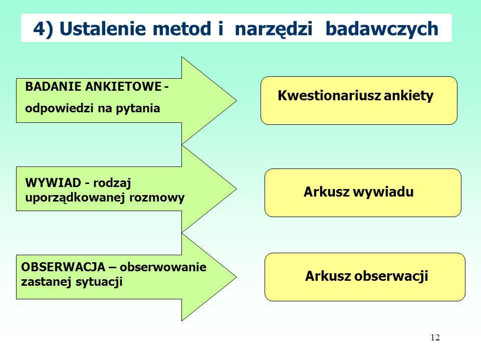 12 4) Ustalenie metod i narzędzi badawczych BADANIE ANKIETOWE - odpowiedzi na pytania WYWIAD - rodzaj uporządkowanej rozmowy OBSERWACJA – obserwowanie zastanej sytuacji Kwestionariusz ankiety Arkusz wywiadu Arkusz obserwacji