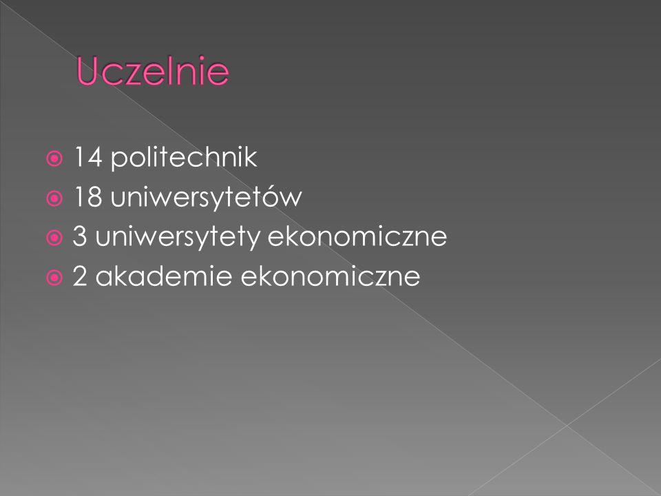  14 politechnik  18 uniwersytetów  3 uniwersytety ekonomiczne  2 akademie ekonomiczne