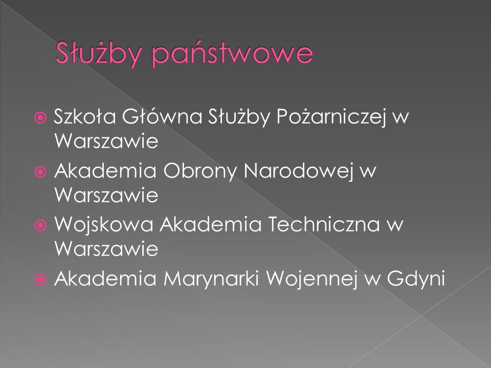  Szkoła Główna Służby Pożarniczej w Warszawie  Akademia Obrony Narodowej w Warszawie  Wojskowa Akademia Techniczna w Warszawie  Akademia Marynarki
