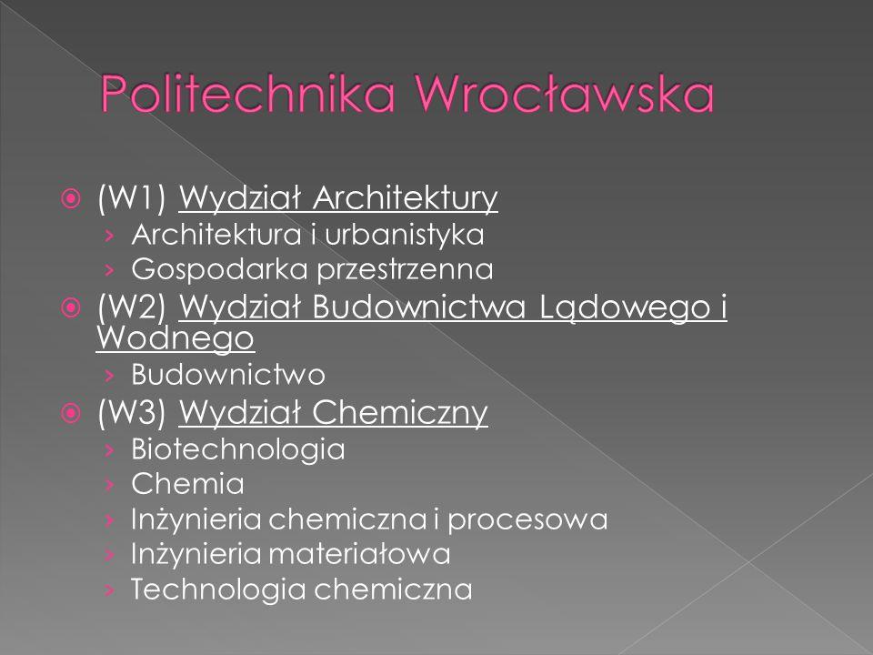  (W1) Wydział Architektury › Architektura i urbanistyka › Gospodarka przestrzenna  (W2) Wydział Budownictwa Lądowego i Wodnego › Budownictwo  (W3)