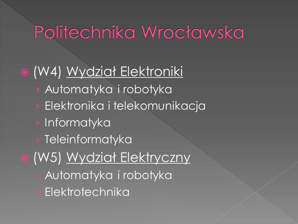  (W4) Wydział Elektroniki › Automatyka i robotyka › Elektronika i telekomunikacja › Informatyka › Teleinformatyka  (W5) Wydział Elektryczny › Automa