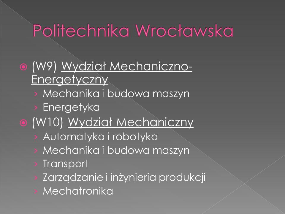  (W9) Wydział Mechaniczno- Energetyczny › Mechanika i budowa maszyn › Energetyka  (W10) Wydział Mechaniczny › Automatyka i robotyka › Mechanika i bu